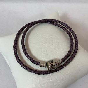 Pandora RET Braided 925 & Leather Double Bracelet